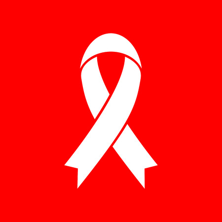 substance abuse awareness: Black awareness ribbon sign. White icon on red background.