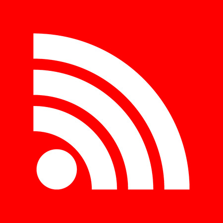 rss sign: RSS sign illustration. White icon on red background.