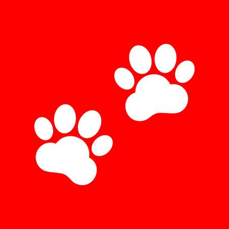 huellas de animales: Pistas animales firman. El icono blanco sobre fondo rojo.