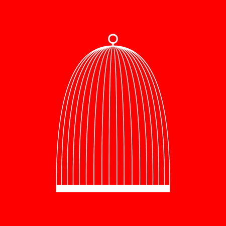 Bird cage sign. White icon on red background.
