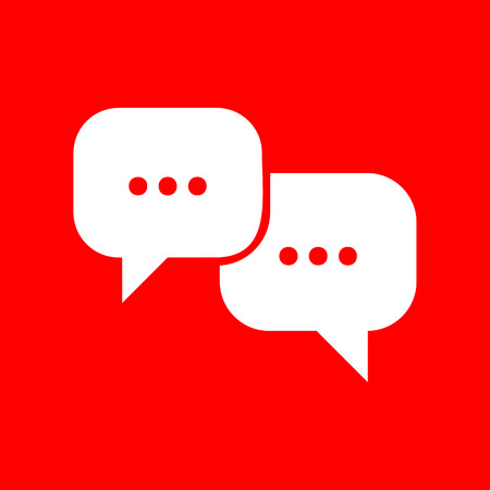 html5: Speech bubbles sign. White icon on red background. Illustration