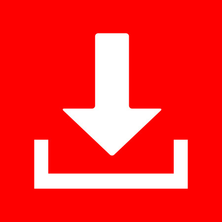 icon red: Download sign illustration. White icon on red background.