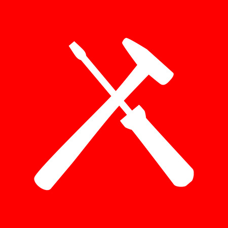 revamp: Tools sign illustration. White icon on red background.