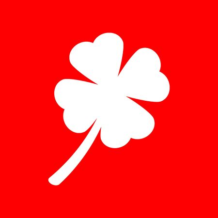 red clover: Leaf clover sign. White icon on red background.
