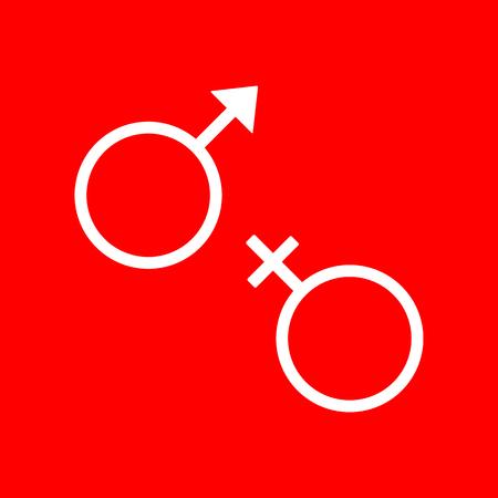 sex symbol: Sex symbol sign. White icon on red background. Illustration