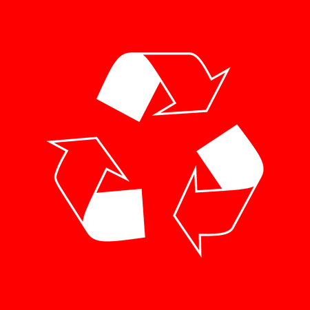 recyclable waste: Recycle logo concept. White icon on red background.