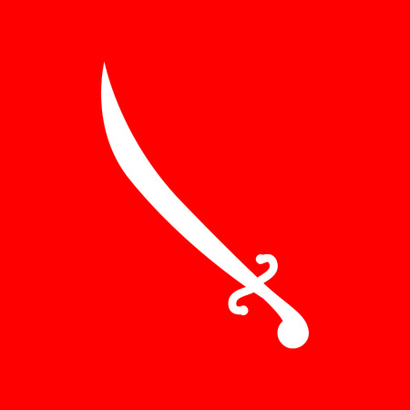 longsword: Sword sign illustration. White icon on red background.