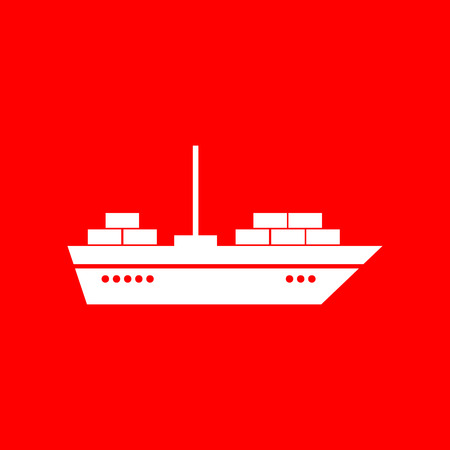 inflate boat: Ship sign illustration. White icon on red background.