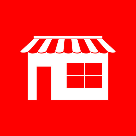 outdoor goods: Store sign illustration. White icon on red background.