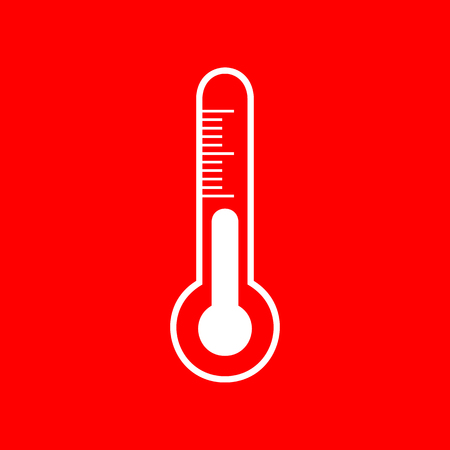meteo: Meteo diagnostic technology thermometer sign. White icon on red background.