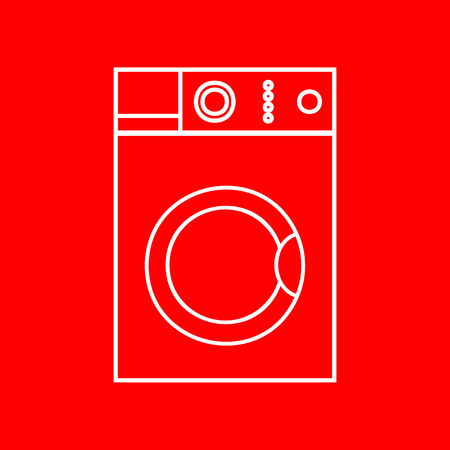 major household appliance: Washing machine sign. White icon on red background.