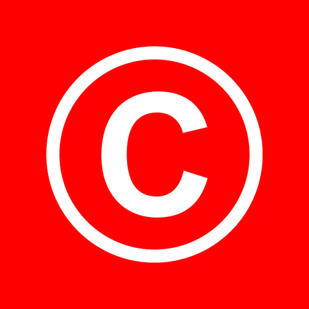 Copyright sign illustration. White icon on red background.
