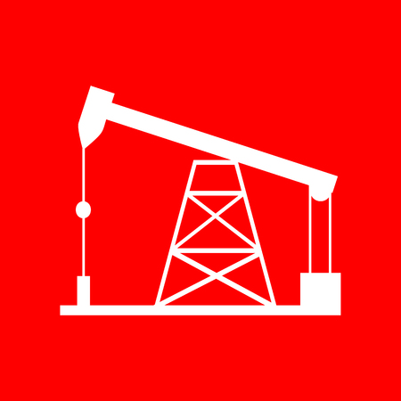 drilling rig: Oil drilling rig sign. White icon on red background.