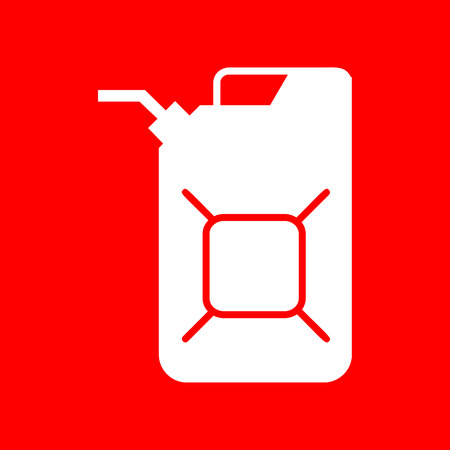 jerry: Jerrycan oil sign. Jerry can oil sign. White icon on red background.