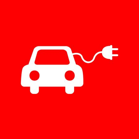 automobile industry: Eco electric car sign. White icon on red background.