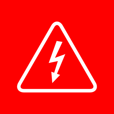 volte: High voltage danger sign. White icon on red background.