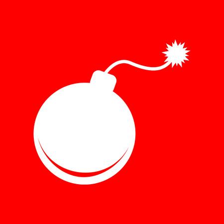 bomb sign: Bomb sign illustration. White icon on red background. Illustration