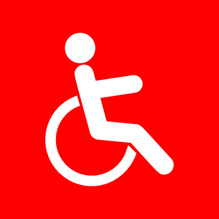 disabled sign: Disabled sign illustration. White icon on red background.