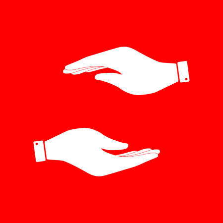 www arm: Hand sign illustration. White icon on red background. Illustration