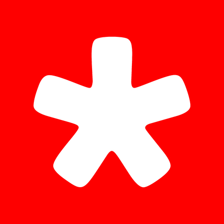 Asterisk star sign. White icon on red background.