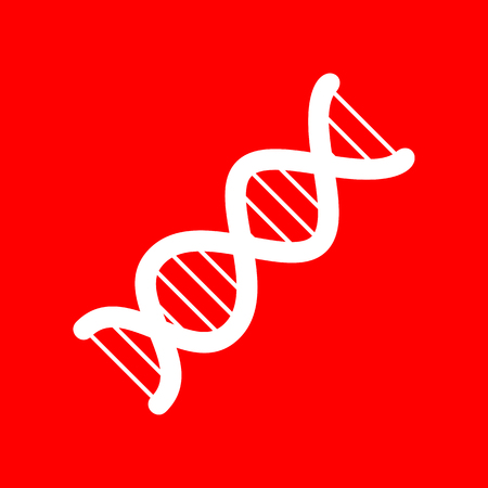 heredity: The DNA sign. White icon on red background. Illustration