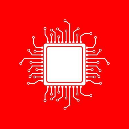 microprocessor: CPU Microprocessor illustration. White icon on red background. Illustration
