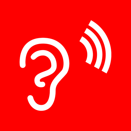 listener: Human ear sign. White icon on red background.