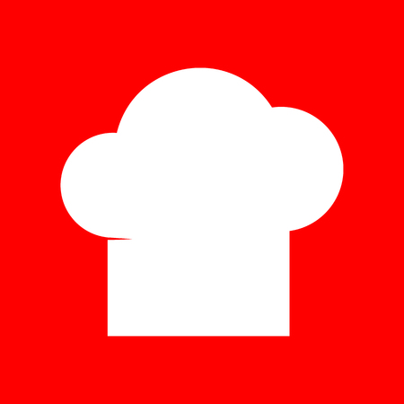 replaceable: Chef cap sign. White icon on red background.
