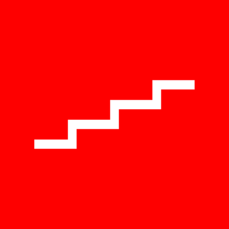 stair: Stair up sign. White icon on red background. Illustration