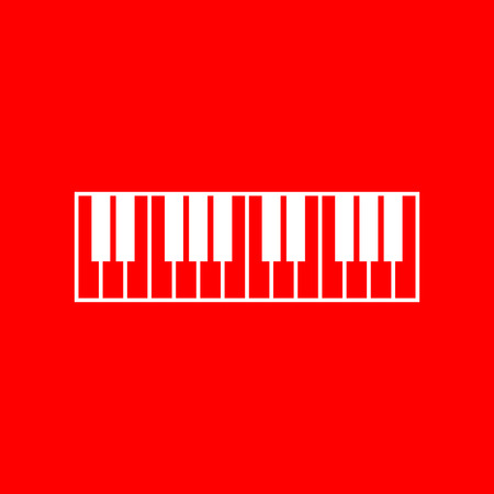 acoustically: Piano Keyboard sign. White icon on red background.