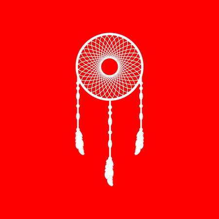 swelled: Dream catcher sign. White icon on red background. Illustration