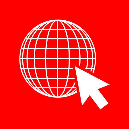 site map: Earth Globe with cursor. White icon on red background.
