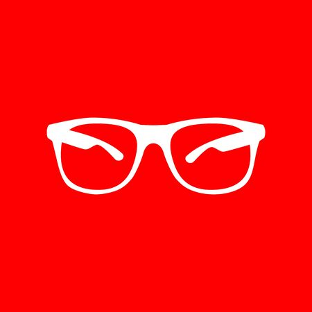 eyewear fashion: Sunglasses sign illustration. White icon on red background. Illustration