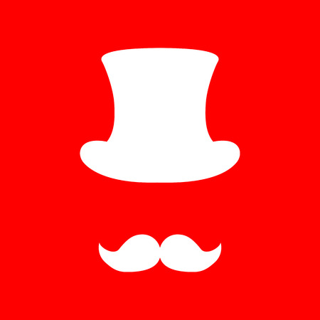 masculinity: Hipster accessories design. White icon on red background.