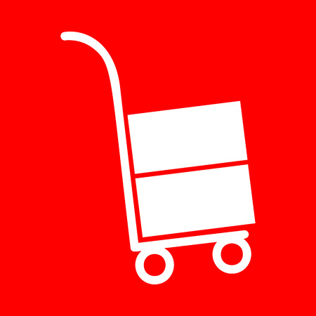 hand truck: Hand truck sign. White icon on red background.