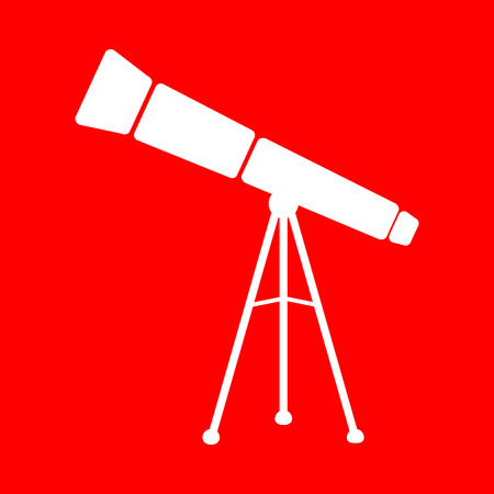 ocular: Telescope simple sign. White icon on red background. Illustration