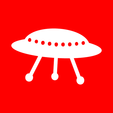 area 51: UFO simple sign. White icon on red background. Illustration