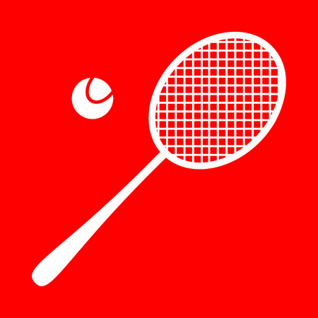 stretched: Tennis racquet sign. White icon on red background.