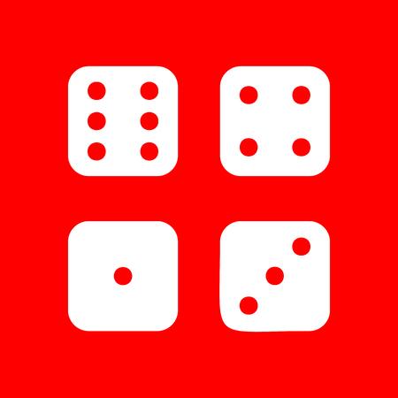 probability: Devils bones, Ivories sign. White icon on red background.