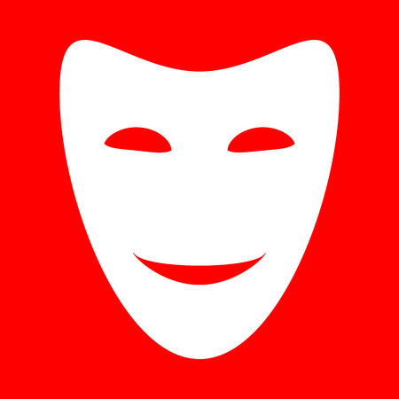 comedy background: Comedy theatrical masks. White icon on red background.