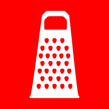 Cheese grater sign. White icon on red background. Illustration