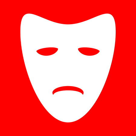tragedy: Tragedy theatrical masks. White icon on red background. Illustration