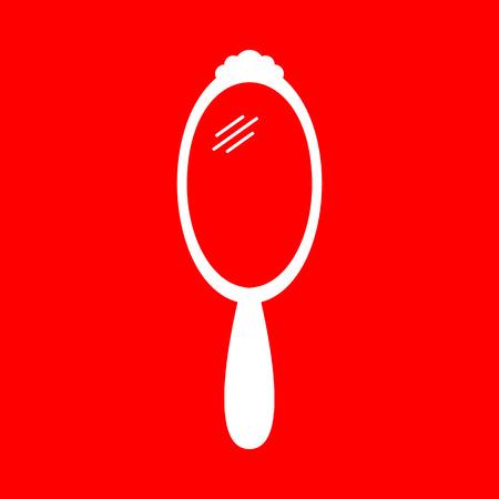 hand mirror: Hand Mirror sign. White icon on red background. Illustration