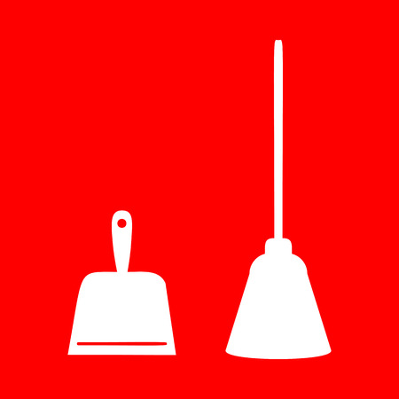 whisk broom: Dustpan vector sign. Scoop for cleaning garbage housework dustpan equipment. White icon on red background.