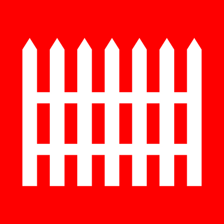 dissociation: Fence simple sign. White icon on red background. Illustration