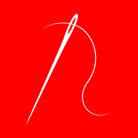 sewing needle: Needle with thread. Sewing needle, needle for sewing. White icon on red background.