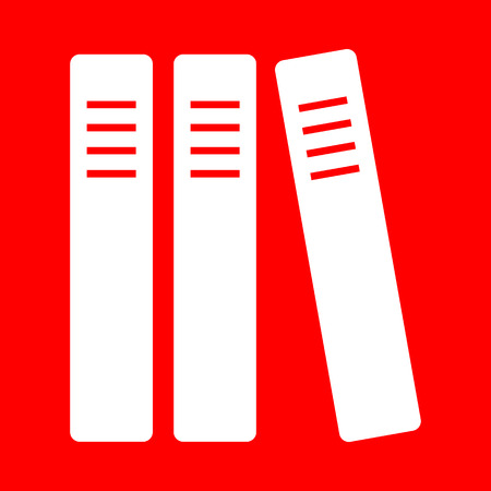 classify: Row of binders, office folders icon. White icon on red background.