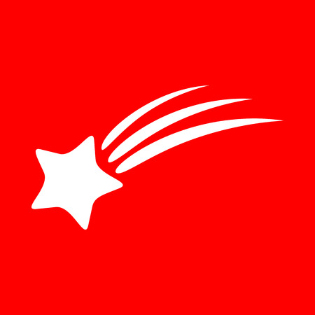 starfall: Shooting star sign. White icon on red background.