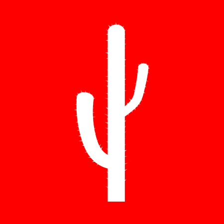 prickle: Cactus simple sign. White icon on red background.