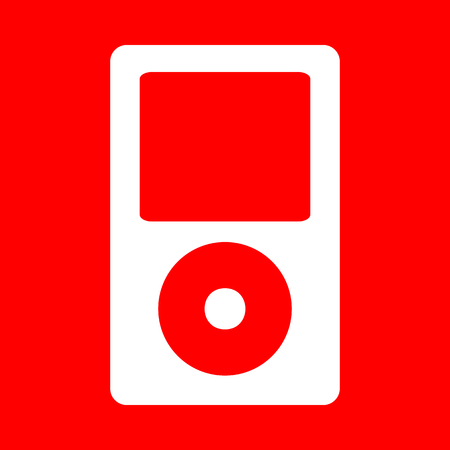 mp: Portable music device. White icon on red background. Illustration